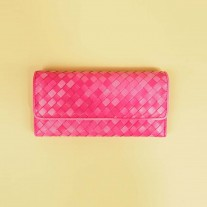 Lyss Woven Lamb Leather Wallet Pink | Modern Heritage