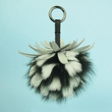 Pineapple Fox Fur Bag Charm Dark Green | LotusTing
