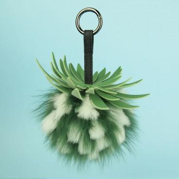 Pineapple Fox Fur Bag Charm Green | LotusTing