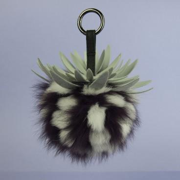 Pineapple Fox Fur Bag Charm Purple | LotusTing