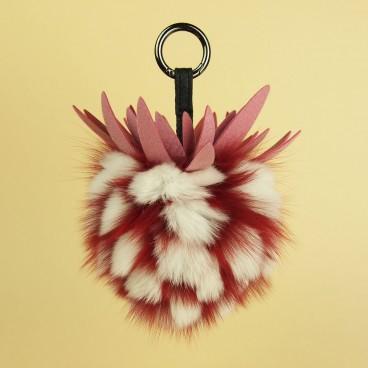 Pineapple Fox Fur Bag Charm Red | LotusTing