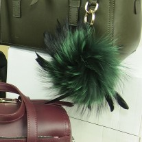 Fox Fur Bag Charm Green | LotusTing